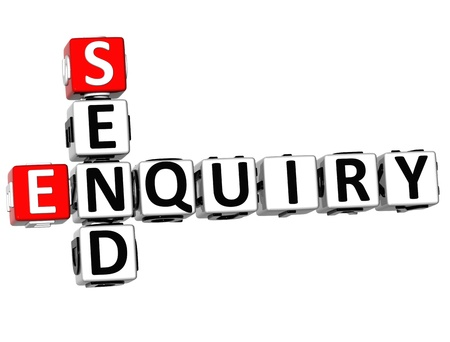 enquiry: 3D Enquiry Send Crossword on white background