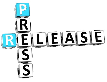 press conference: 3D Press Release Crossword on white background Stock Photo