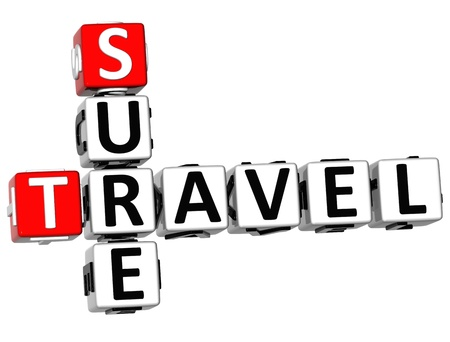 sure: 3D Travel Sure Crossword on white background Stock Photo