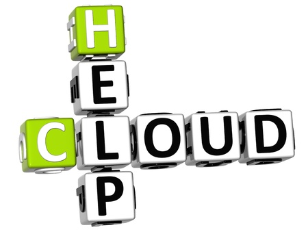 3D Help Cloud Crossword on white background photo