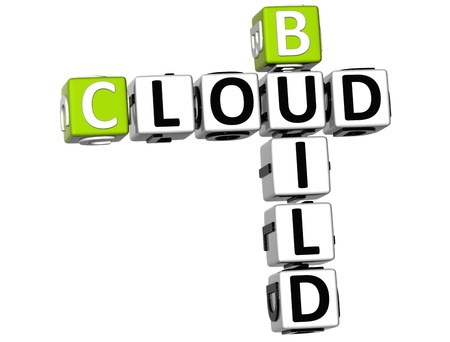 3D Build Cloud Crossword on white background Stock Photo - 11491309
