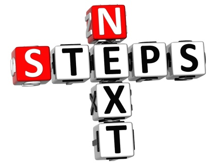 next: 3D Next Steps Crossword on white background Stock Photo