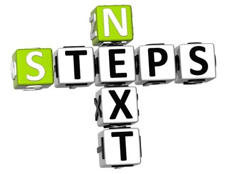 buzzwords: 3D Next Steps Crossword on white background Stock Photo