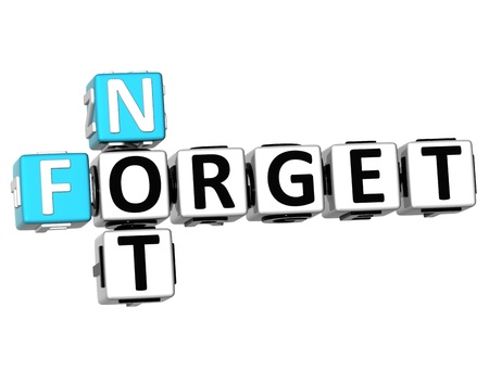not to forget: 3D Not Forget Crossword on white background