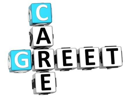 greet: 3D Greet Care Crossword on white background