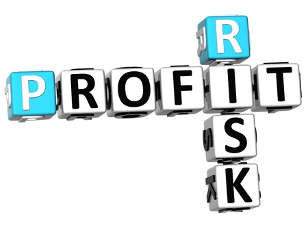 3D Profit Risk Crossword on white background photo
