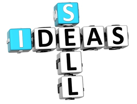 3D Sell Ideas Crossword on white background photo