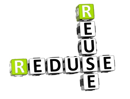 3D Reduse Reuse Crossword on white backgound photo