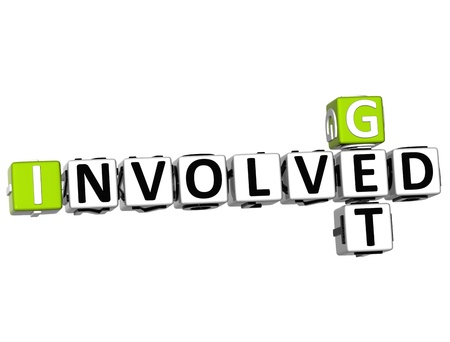 involved: 3D Get Involved Crossword on white backgound Stock Photo