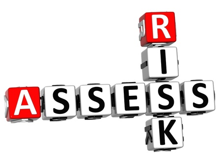 3D Assess Risk Crossword on white backgound photo