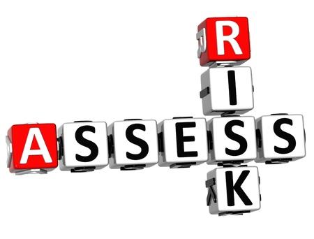 ideas risk: 3D Assess Risk Crossword on white backgound Stock Photo