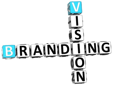 3D Branding Vision Crossword on white backgound photo