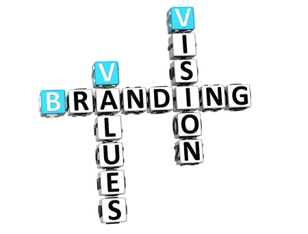 3D Branding Vision Values Crossword on white backgound photo