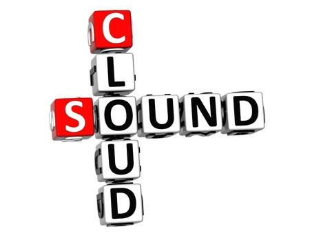 3D Sound Cloud Crossword on white background photo