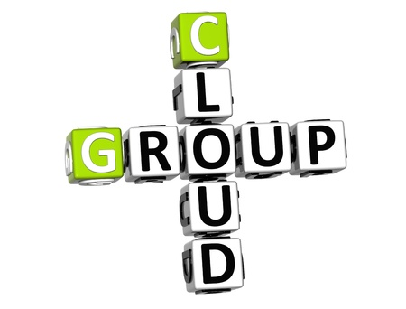 3D Group Cloud Crossword on white background photo