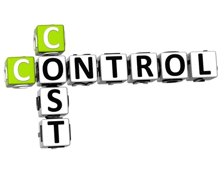 controlling: 3D Control Cost Crossword on white background Stock Photo