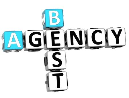 3D Best Agency Crossword on white background photo
