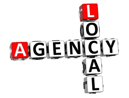 3D Local Agency Crossword on white background photo
