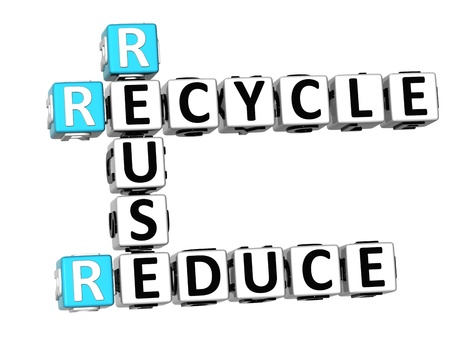 3D Reduce Reuse Recycle Crossword on white background photo