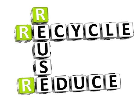 reduce reutiliza recicla: Reduzca la reutilizaci�n 3D Crucigrama de reciclaje en el fondo blanco