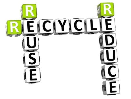 reduce reutiliza recicla: 3D Reducir Reutilizar Reciclar Crucigrama sobre fondo blanco
