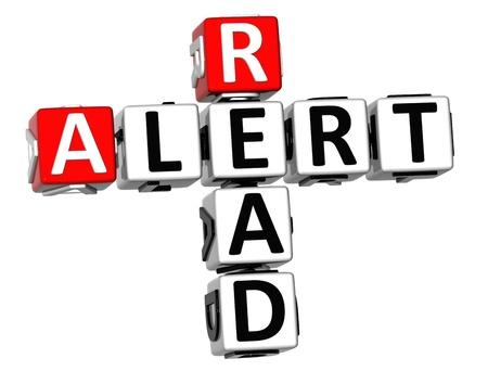 3D Read Alert Crossword on white background Stock Photo - 11735603