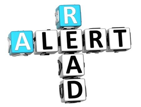 3D Read Alert Crossword on white background photo