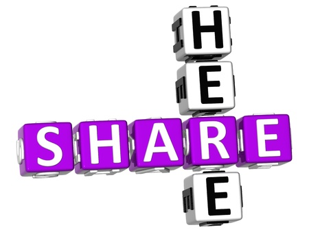 3D Share Here Crossword on white background Stock Photo - 11735698