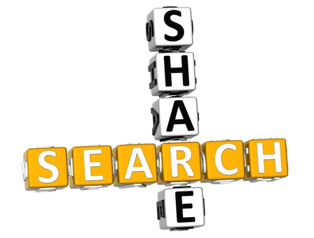 3D Search Share Crossword on white background photo
