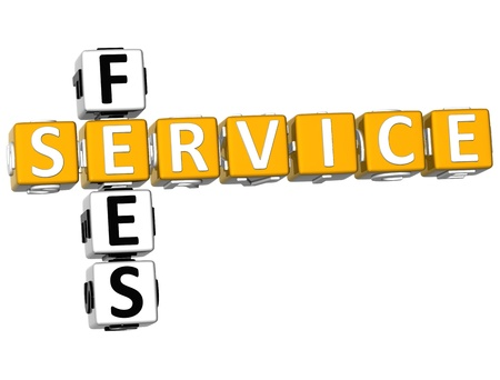 fees: 3D Service Fees Crossword on white background