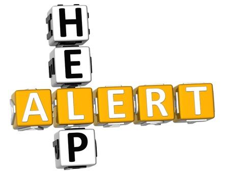 3D Help Alert Crossword on white background Stock Photo - 11735635