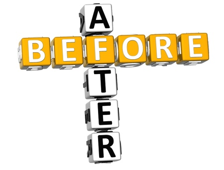 before: 3D Before After Crossword on white background