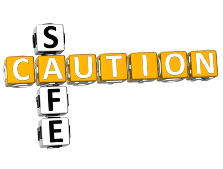 3D Caution Safe Crossword on white background Stock Photo - 11735574