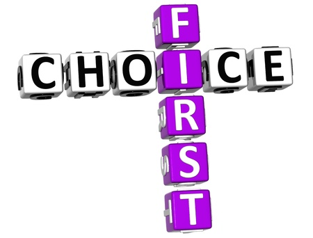 best choice: 3D First Choice Crossword on white background Stock Photo