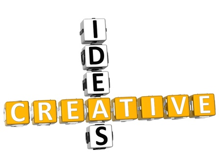 3D Creative Ideas Crossword on white background photo