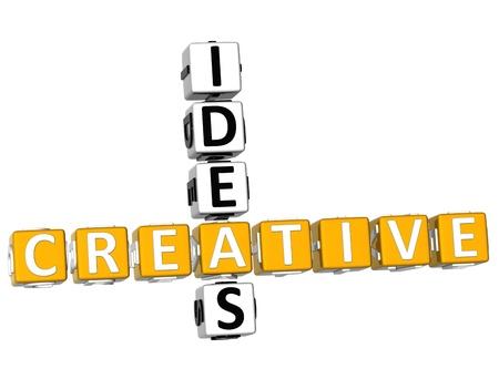 3D Creative Ideas Crossword on white background photo