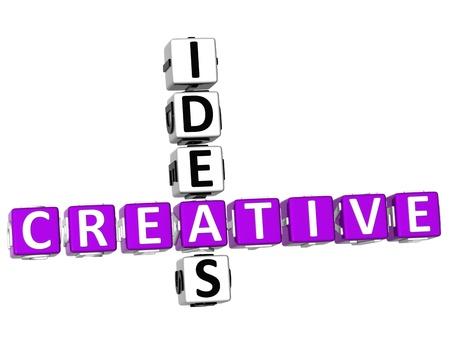 eureka: 3D Creative Ideas Crossword on white background Stock Photo