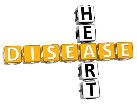 Herzkrankheit: 3D Heart Disease Kreuzwortr�tsel auf wei�em Hintergrund