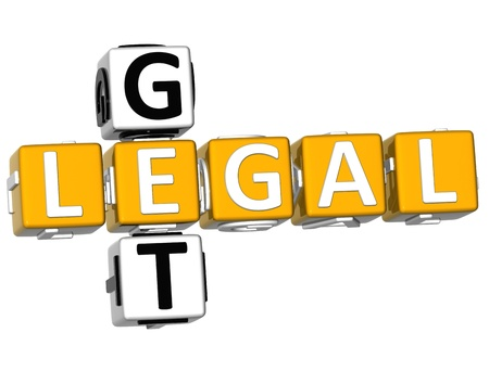3D Get Legal Crossword over white background photo