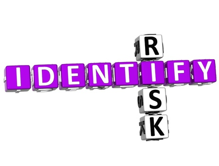 identify: 3D Identify Risk Crossword over white background