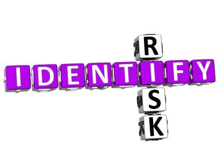 realiseren: 3D-licht van de risico Crossword op witte achtergrond Stockfoto