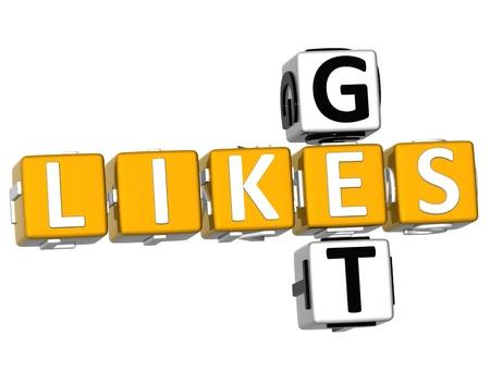 likes: 3D Get Likes Crossword over white background