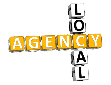 3D Local Agency Crossword over white background photo