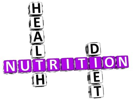 buena salud: Salud 3D Nutrici�n Dieta Crucigrama sobre fondo blanco Foto de archivo
