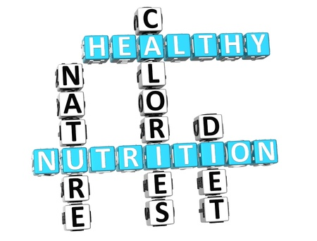 3D Nutrition Health Diet Crossword over white background Stock Photo - 11736077