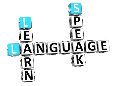 idiomas: 3D Lengua Espa�ola crucigrama sobre fondo blanco Foto de archivo