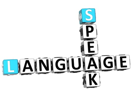 speak english: 3D Spanish Language Crossword on white background