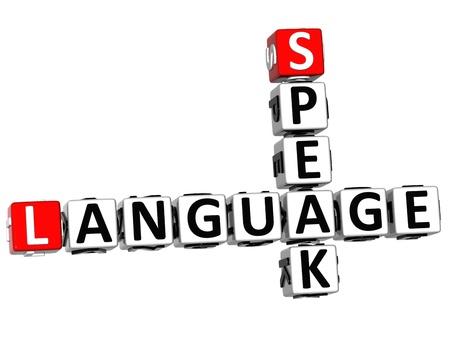 spanish language: 3D Spanish Language Crossword on white background