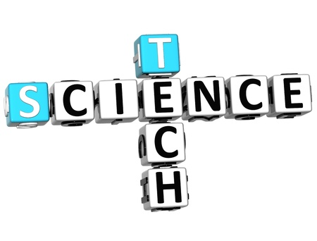 3D Science Tech Crossword on white background photo