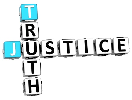 rightness: 3D Justice Truth Crossword on white background Stock Photo